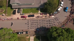 Aerial shot of the July 4th parade and celebration Stock Footage