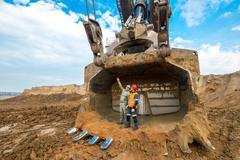 June, 2016 - Buryatia, Russia: Huge excavator ground moving - stock photo