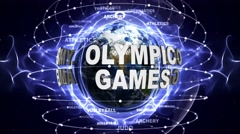 OLYMPIC GAMES and SPORTS Texts Animation and Earth, Loop, 4k Stock Footage