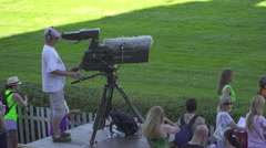 Cameraman of Czech national tv Chanel work on Huge pro CAMERA Stock Footage