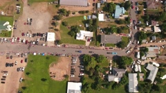 Aerial travelling shot of families watching the july 4th parade Stock Footage
