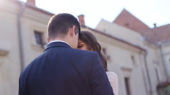 Romantic couple embracing in love laughing having fun. Multicultural man and - stock footage