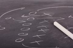 Close up of blackboard for coaching tactics Stock Photos