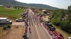 Aerial travelling shot of marching band in july 4th parade Stock Footage
