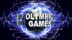 OLYMPIC GAMES Text Animation and Earth, Loop, 4k Stock Footage