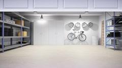 Empty residential garage interior Stock Footage