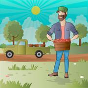 Middle aged man-farmer with box of fruits Stock Illustration