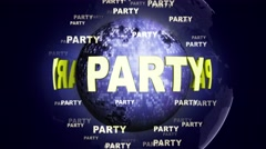 PARTY Text Animation and Disco Ball, Loop, 4k - stock footage