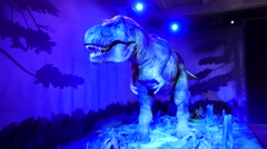Big robot dinosaur at The Natural History Museum in London Stock Footage