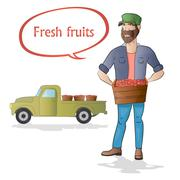 Middle aged man-farmer with box of fruits on white background Stock Illustration