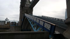 Tower Bridge being open at dusk ,London United Kingdom Stock Footage