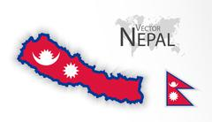 Nepal ( Federal Democratic Republic of Nepal ) ( flag and map ) ( transportat - stock illustration