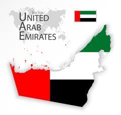 United Arab Emirates ( flag and map ) ( transportation and tourism concept ) Stock Illustration