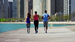 Multi Ethnic male and females in Chicago city doing running workout together Stock Footage