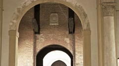 A corridor of ancient archways Stock Footage