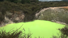 Panning shot of devil's bath pool at rotorua nz Stock Footage