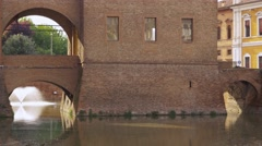 Entrance to the Estense castle over the moat Stock Footage