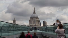 Time lapse of Millennium Bridge with  St Pauls Cathedral London - stock footage