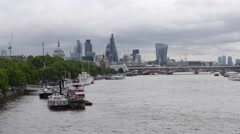 Time Lapse of River Thames with City of London in background London UK Stock Footage