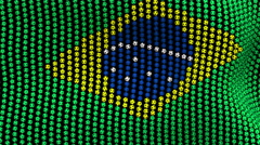 Colored soccer balls forming fabric Brazil flag. Black screen. Stock Footage