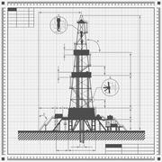 Blueprint of Oil rig silhouette - stock illustration