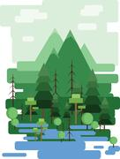 Abstract landscape design with green trees and clouds, a forest and a lake Stock Illustration