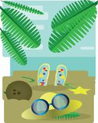 Abstract design with palm leaves, sand, slippers, hat and sun glasses, view t Stock Illustration