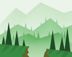 Abstract landscape design with green trees, hills, fog and a chasm, flat styl Stock Illustration
