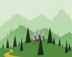 Abstract landscape design with green trees, hills and fog, a cart near silver Stock Illustration