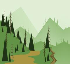 Abstract landscape design with green trees, hills, road and a chasm, flat sty Stock Illustration