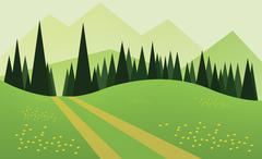 Abstract landscape design with green trees, hills and fog, a road and yellow Stock Illustration