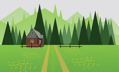 Abstract landscape design with green trees, hills and fog, a house and a road Stock Illustration