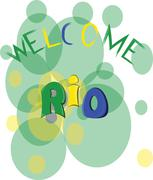Welcome rio, colored hand drawn text on white backdrop. Digital vector image Stock Illustration
