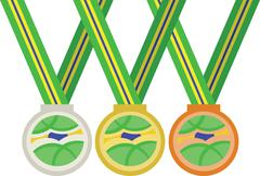 Brasil, rio 2016, colored medals. Digital vector image Stock Illustration