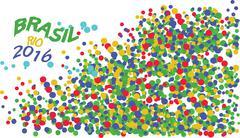 Brasil, Rio 2016 logo with colored circles. Digital vector image. Stock Illustration