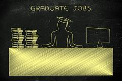 Graduate person sitting at office desk, caption graduate jobs Stock Illustration