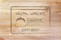 Pop-up digital wallet with coin purse and login Stock Illustration