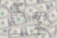 coins dropped in and out of safe, caption saving vs spending - stock illustration