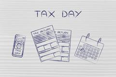 Tax return papers with calendar & phone alert, caption Tax Day Stock Illustration