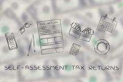 tax forms with office desk objects & phone alert, self-assessment - stock illustration