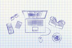 Tax forms on laptop screen with office objects & phone alert Stock Illustration