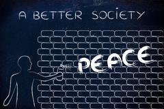 man writing Peace as wall graffiti, a better society - stock illustration