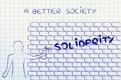 man writing Solidarity as wall graffiti, a better society - stock illustration