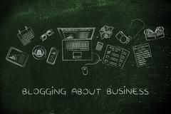 Business & finance blogger desk with laptop, blogging about business Stock Illustration