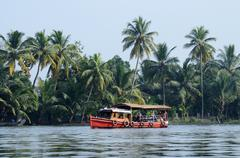 Tourist boat at Kerala backwaters,Alleppey,India,famous attraction Stock Photos