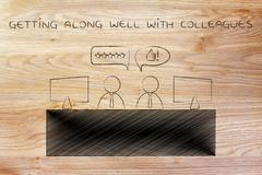 Co-workers talking at the office, getting along well Stock Illustration