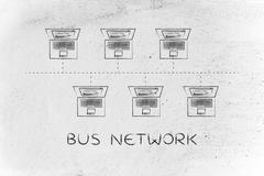 laptops connected in a bus network structure with caption - stock illustration