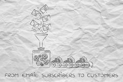 email list turning into cash, from subscribers to customers - stock illustration
