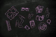 mixed glamour objects on desk, flat illustration - stock illustration