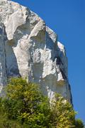 The chalk cliffs with vegetation in the middle of Russia. - stock photo